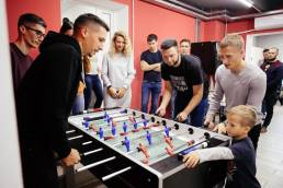 people playing table football