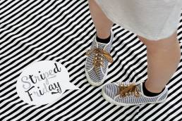 striped floor and shoes